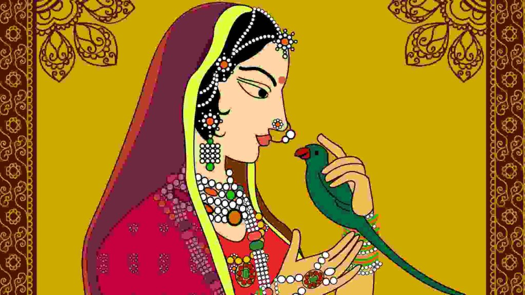 Raja Bhoj Story In Hindi Part Seven. Indian Queen with Parrot.
